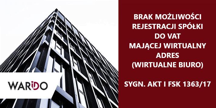 Rejestracja do VAT a wirtualne biuro