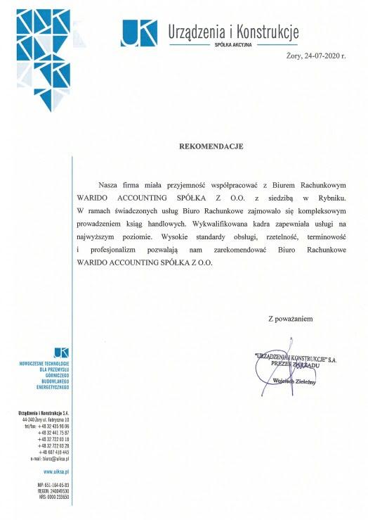 Rekomendacje biuro rachunkowe Warido UiK